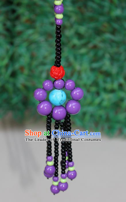 Traditional Chinese Miao Nationality Crafts Jewelry Accessory, Hmong Handmade Beads Tassel Flowers Pendant, Miao Ethnic Minority Necklace Accessories Sweater Chain Pendant for Women