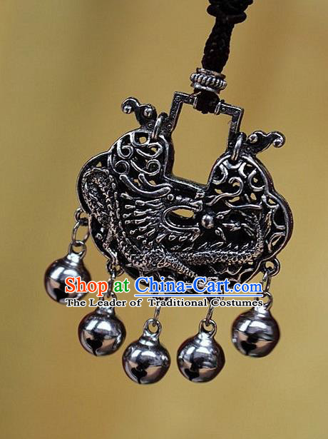 Traditional Chinese Miao Nationality Crafts Jewelry Accessory, Hmong Handmade Miao Silver Bells Tassel Longevity Lock Dragon Pendant, Miao Ethnic Minority Necklace Accessories Sweater Chain Pendant for Women