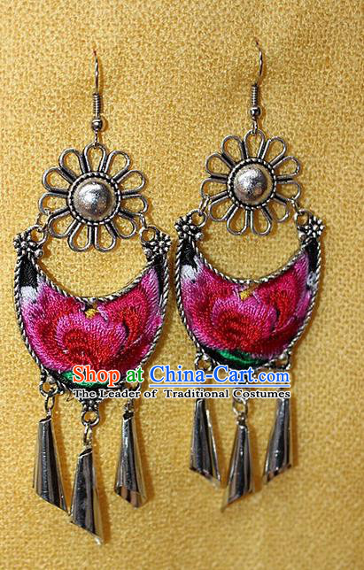 Traditional Chinese Miao Nationality Crafts Jewelry Accessory Classical Earbob Accessories, Hmong Handmade Miao Silver Palace Lady Tassel Embroidery Earrings, Miao Ethnic Minority Eardrop for Women