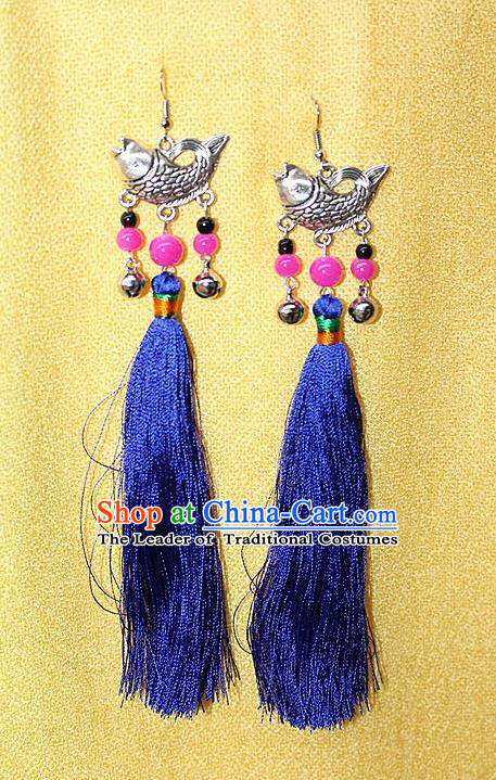 Traditional Chinese Miao Nationality Crafts Jewelry Accessory Classical Earbob Accessories, Hmong Handmade Miao Silver Fish Palace Lady Royalblue Silk Tassel Earrings, Miao Ethnic Minority Eardrop for Women
