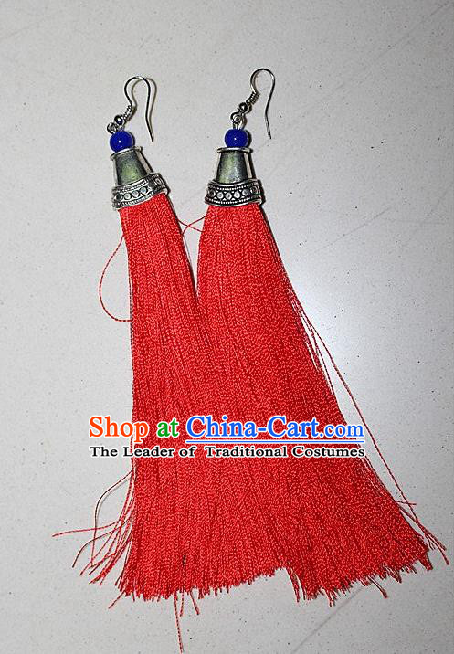 Traditional Chinese Miao Nationality Crafts Jewelry Accessory Classical Earbob Accessories, Hmong Handmade Palace Lady Red Silk Tassel Earrings, Miao Ethnic Minority Eardrop for Women