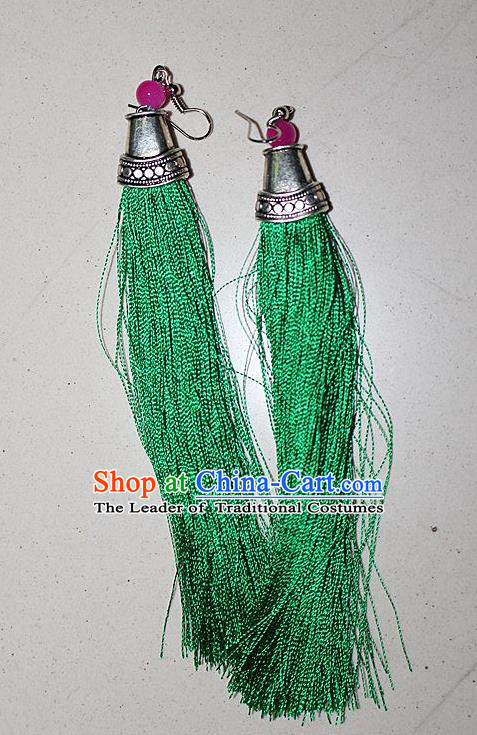 Traditional Chinese Miao Nationality Crafts Jewelry Accessory Classical Earbob Accessories, Hmong Handmade Palace Lady Green Silk Tassel Earrings, Miao Ethnic Minority Eardrop for Women