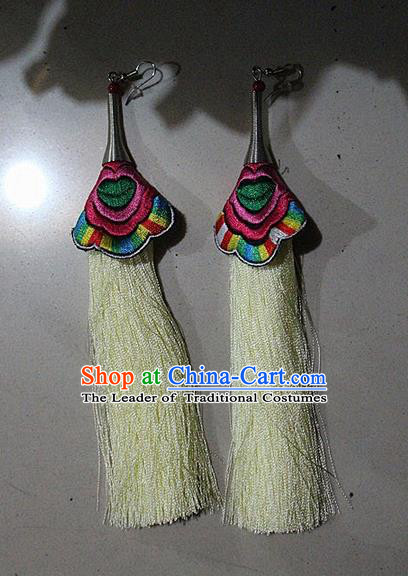 Traditional Chinese Miao Nationality Crafts Jewelry Accessory Classical Earbob Accessories, Hmong Handmade Embroidery Palace Lady Yellow Silk Tassel Earrings, Miao Ethnic Minority Eardrop for Women