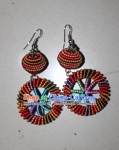 Traditional Chinese Miao Nationality Crafts Jewelry Accessory Classical Earbob Accessories, Hmong Handmade Kinking Palace Lady Round Earrings, Miao Ethnic Minority Weave Eardrop for Women