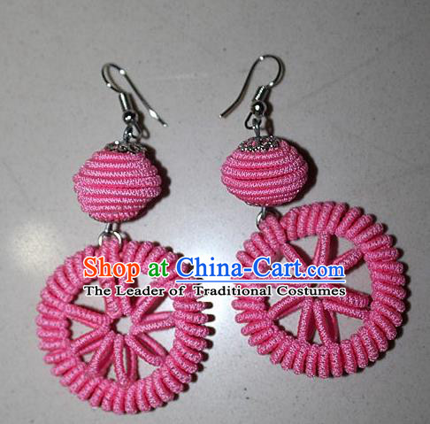 Traditional Chinese Miao Nationality Crafts Jewelry Accessory Classical Earbob Accessories, Hmong Handmade Kinking Palace Lady Round Pink Earrings, Miao Ethnic Minority Weave Eardrop for Women
