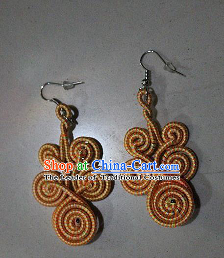 Traditional Chinese Miao Nationality Crafts Jewelry Accessory Classical Earbob Accessories, Hmong Handmade Kinking Palace Lady Yellow Earrings, Miao Ethnic Minority Weave Eardrop for Women