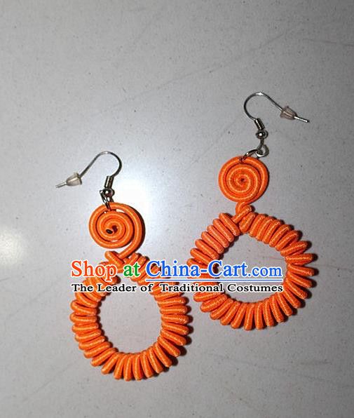 Traditional Chinese Miao Nationality Crafts Jewelry Accessory Classical Earbob Accessories, Hmong Handmade Kinking Palace Lady Annulus Earrings, Miao Ethnic Minority Weave Eardrop for Women