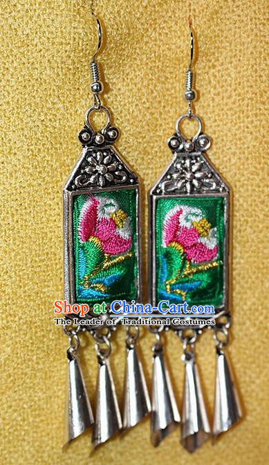 Traditional Chinese Miao Nationality Crafts Jewelry Accessory Classical Earbob Accessories, Hmong Handmade Miao Silver Palace Lady Tassel Embroidery Flowers Earrings, Miao Ethnic Minority Eardrop for Women
