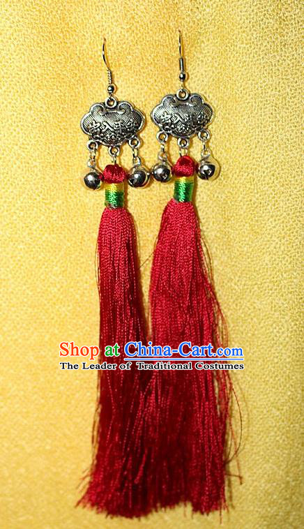 Traditional Chinese Miao Nationality Crafts Jewelry Accessory Classical Earbob Accessories, Hmong Handmade Miao Silver Longevity Lock Palace Lady Red Silk Tassel Earrings, Miao Ethnic Minority Eardrop for Women