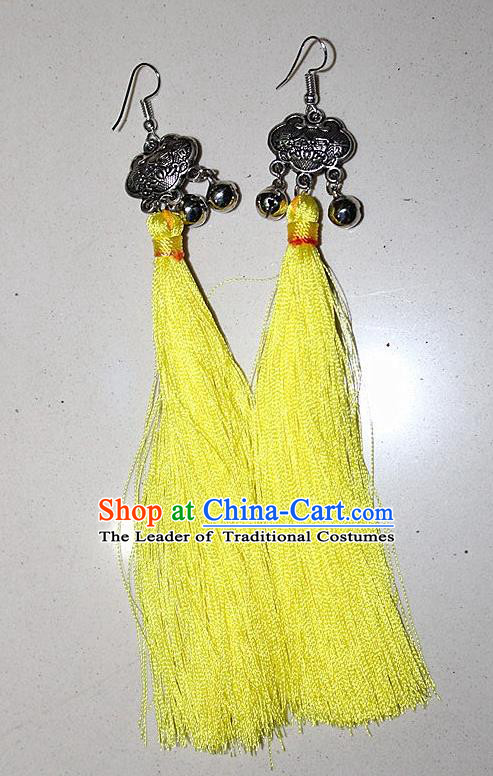 Traditional Chinese Miao Nationality Crafts Jewelry Accessory Classical Earbob Accessories, Hmong Handmade Miao Silver Longevity Lock Palace Lady Yellow Silk Tassel Earrings, Miao Ethnic Minority Eardrop for Women