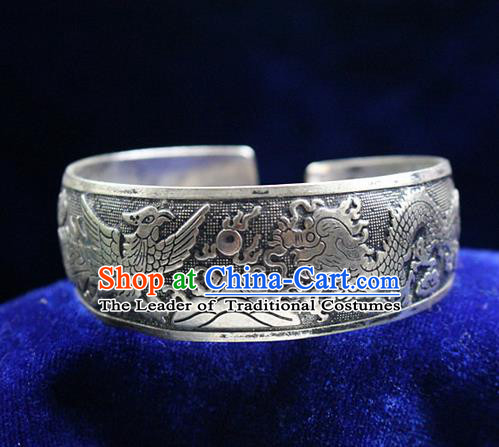 Traditional Chinese Miao Nationality Crafts Jewelry Accessory Bangle, Hmong Handmade Miao Silver Dragon Phoenix Bracelet, Miao Ethnic Minority Silver Bracelet Accessories for Women