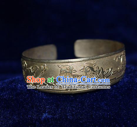 Traditional Chinese Miao Nationality Crafts Jewelry Accessory Bangle, Hmong Handmade Miao Silver Mandarin Duck Bracelet, Miao Ethnic Minority Silver Wide Bracelet Accessories for Women