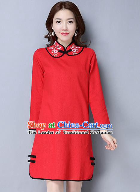 Traditional Ancient Chinese National Costume, Elegant Hanfu Plated Button Embroidered Stand Collar Red Dress, China Tang Suit Cheongsam Dress Upper Outer Garment Dress Clothing for Women