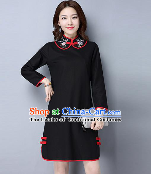 Traditional Ancient Chinese National Costume, Elegant Hanfu Plated Button Embroidered Stand Collar Black Dress, China Tang Suit Cheongsam Dress Upper Outer Garment Dress Clothing for Women