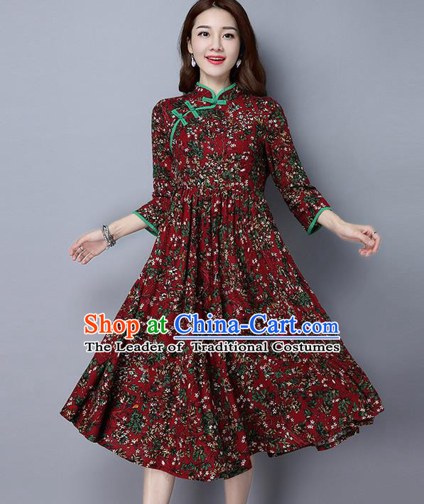 Traditional Ancient Chinese National Costume, Elegant Hanfu Slant Opening Plated Buttons Red Dress, China Tang Suit Cheongsam Dress Upper Outer Garment Dress Clothing for Women