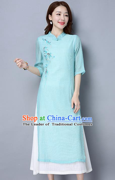 Traditional Ancient Chinese National Costume, Elegant Hanfu Mandarin Qipao Embroidered Dress, China Tang Suit Cheongsam Upper Outer Garment Light Blue Elegant Dress Clothing for Women