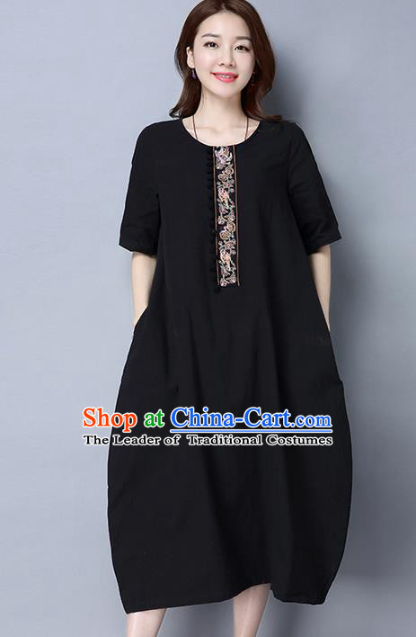 Traditional Ancient Chinese National Costume, Elegant Hanfu Linen Black Embroidery Dress, China Tang Suit Cheongsam Upper Outer Garment Elegant Dress Clothing for Women