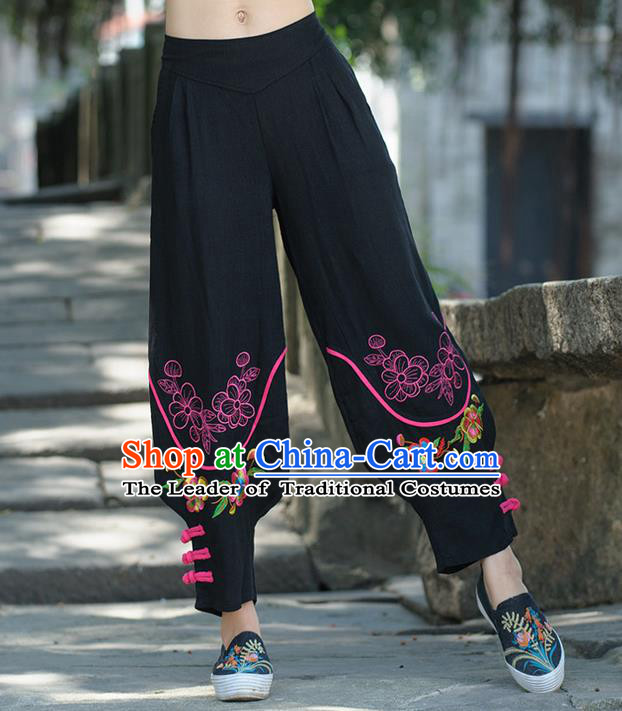Traditional Ancient Chinese National Costume Trousers, Elegant Hanfu Embroidered Flowers Pants, China Tang Suit Cotton Black Leisure Pants for Women