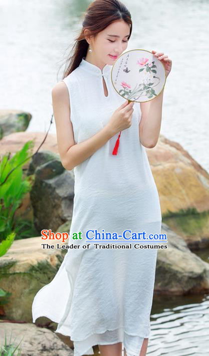 Traditional Ancient Chinese National Costume, Elegant Hanfu Mandarin Qipao Stand Collar Dress, China Tang Suit Plated Buttons Cheongsam Upper Outer Garment Elegant Dress Clothing for Women