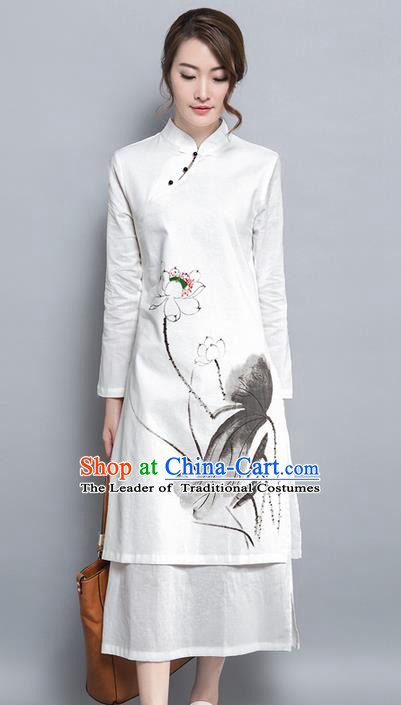 Traditional Ancient Chinese National Costume, Elegant Hanfu Mandarin Qipao Embroidery Ink Lotus Dress, China Tang Suit Cheongsam Upper Outer Garment Elegant Dress Clothing for Women