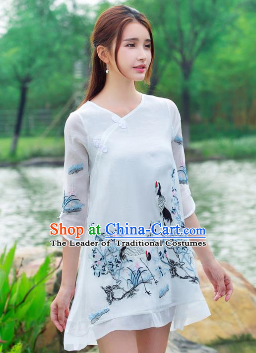 Traditional Ancient Chinese National Costume, Elegant Hanfu Mandarin Qipao Embroidery Crane Dress, China Tang Suit Cheongsam Upper Outer Garment Elegant Dress Clothing for Women