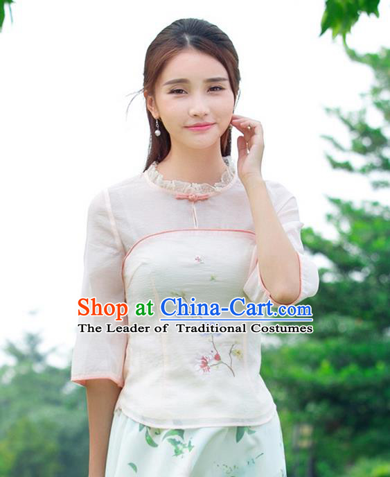 Traditional Ancient Chinese National Costume, Elegant Hanfu Plated Buttons Organza Shirt, China Tang Suit Embroidered Blouse Cheongsam Upper Outer Garment Shirts Clothing for Women