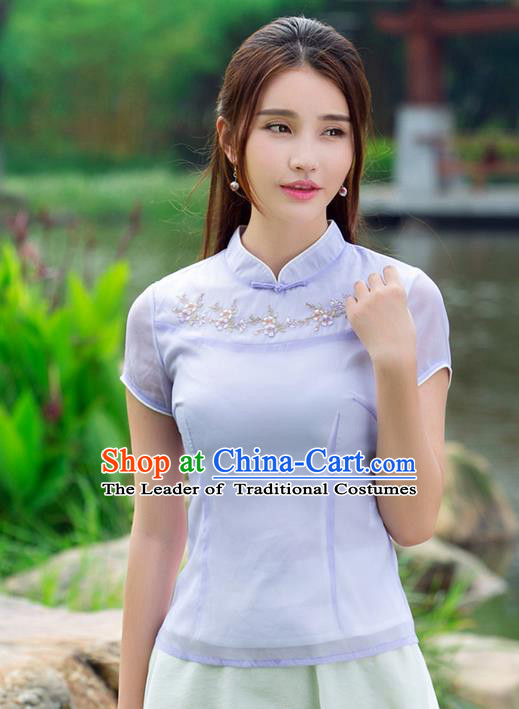 Traditional Ancient Chinese National Costume, Elegant Hanfu Plated Buttons Organza Shirt, China Tang Suit Embroidered Blouse Cheongsam Upper Outer Garment Purple Shirts Clothing for Women