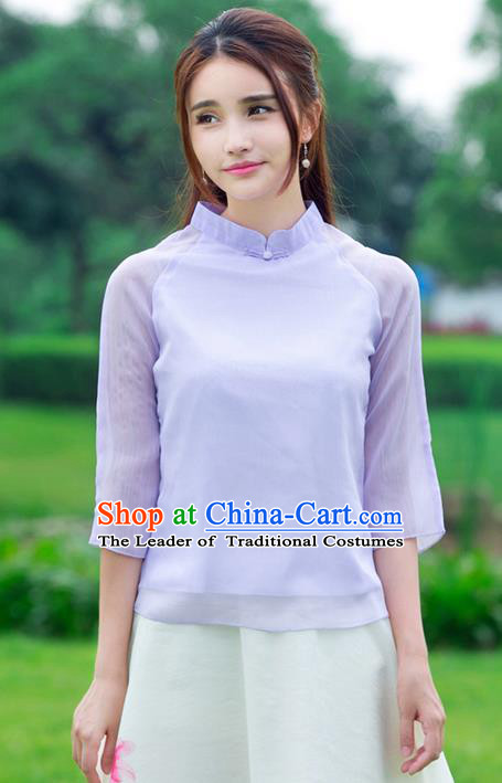 Traditional Ancient Chinese National Costume, Elegant Hanfu Plated Buttons Chiffon Shirt, China Tang Suit Blouse Cheongsam Upper Outer Garment Purple Qipao Shirts Clothing for Women