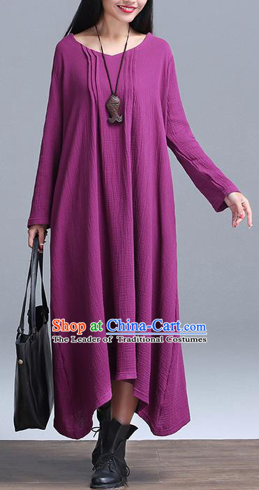 Traditional Ancient Chinese National Costume, Elegant Hanfu Linen Purple Dress, China Tang Suit Cheongsam Upper Outer Garment Elegant Dress Clothing for Women