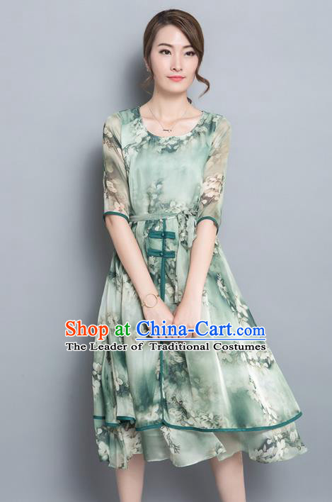Traditional Ancient Chinese National Costume, Elegant Hanfu Chiffon Plated Buttons Green Dress, China Tang Suit Cheongsam Upper Outer Garment Elegant Dress Clothing for Women