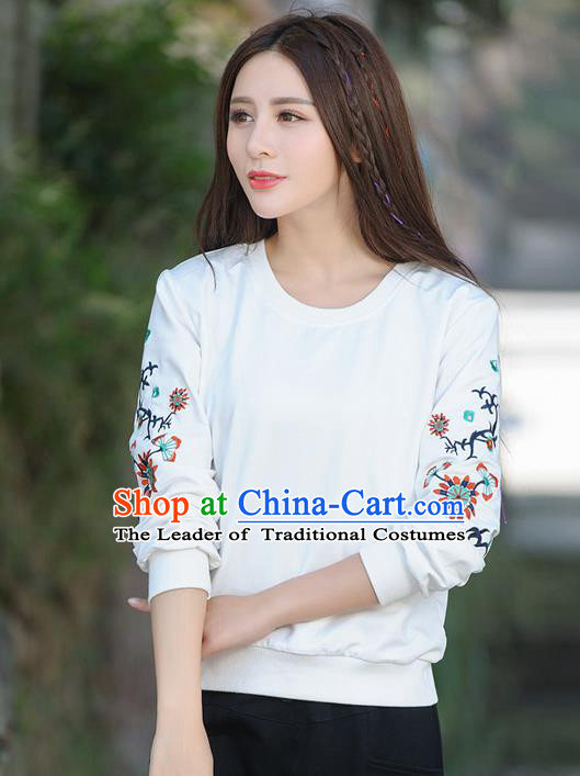 Traditional Ancient Chinese National Costume, Elegant Hanfu Embroidery Flowers Fleece Shirt, China Tang Suit Blouse Cheongsam Upper Outer Garment Shirts Clothing for Women
