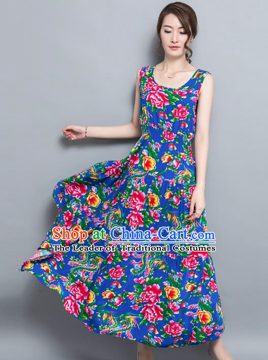 Traditional Ancient Chinese National Costume, Elegant Hanfu North East Style Peony Flowers Dress, China Tang Suit Sleeveless Vest Long Skirt Upper Outer Garment Elegant Blue Dress Clothing for Women