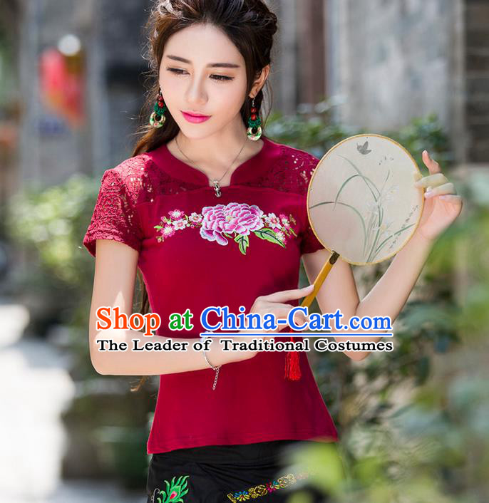 Traditional Ancient Chinese National Costume, Elegant Hanfu Embroidery Peony Flowers Lace Wine Red Shirt, China Tang Suit Blouse Cheongsam Upper Outer Garment Qipao Shirts Clothing for Women