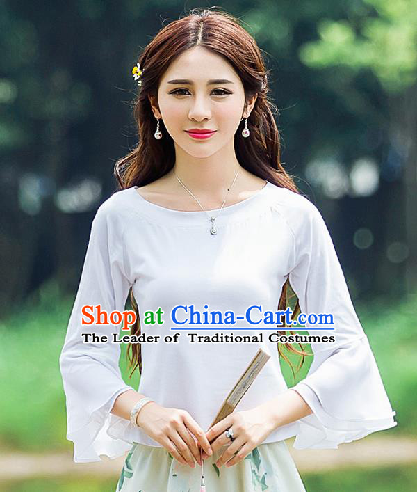 Traditional Ancient Chinese National Costume, Elegant Hanfu Mandarin Sleeve T-Shirt, China Tang Suit Chiffon Blouse Cheongsam Qipao Shirts Clothing for Women