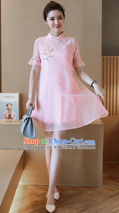 Traditional Ancient Chinese National Costume, Elegant Hanfu Organza Stand Collar Qipao Embroidered Dress, China Tang Suit Cheongsam Upper Outer Garment Elegant Pink Short Dress Clothing for Women