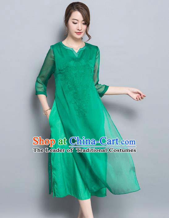 Traditional Ancient Chinese National Costume, Elegant Hanfu Qipao Embroidered Chiffon Dress, China Tang Suit Cheongsam Upper Outer Garment Elegant Green Dress Clothing for Women