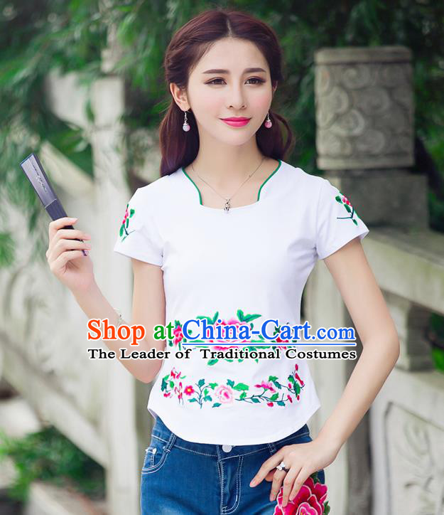 Traditional Ancient Chinese National Costume, Elegant Hanfu Embroidered Peony Flowers Mandarin Collar T-Shirt, China Tang Suit White Blouse Cheongsam Qipao Shirts Clothing for Women