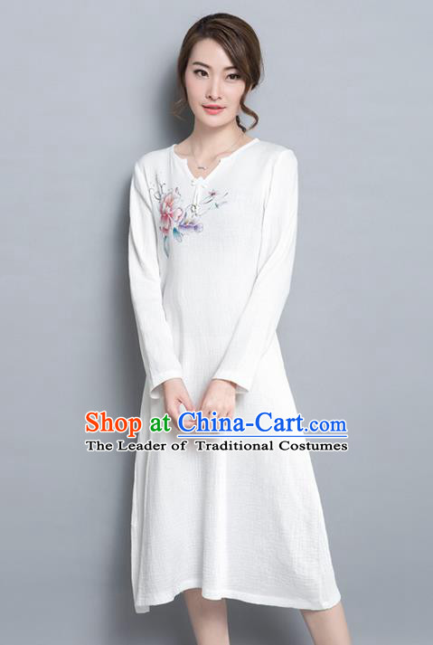 Traditional Ancient Chinese National Costume, Elegant Hanfu Printing Dress, China Tang Suit Cheongsam Upper Outer Garment Elegant White Dress Clothing for Women