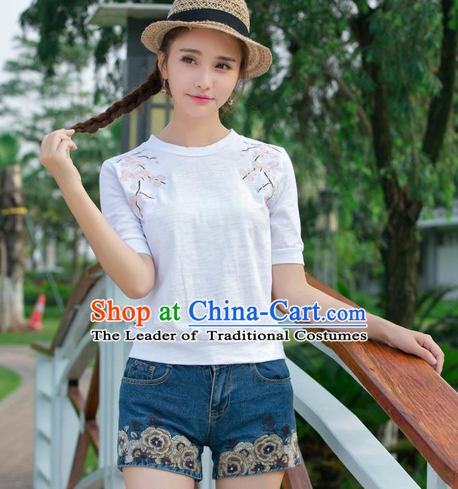 Traditional Ancient Chinese National Costume, Elegant Hanfu Embroidered Flowers T-Shirt, China Tang Suit Round Collar Blouse Cheongsam Qipao Base Shirts Clothing for Women