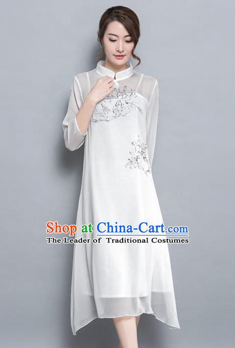 Traditional Ancient Chinese National Costume, Elegant Hanfu Hand Painting Mandarin Qipao Chiffon Two-Piece Dress, China Tang Suit Cheongsam Upper Outer Garment Elegant White Dress Clothing for Women