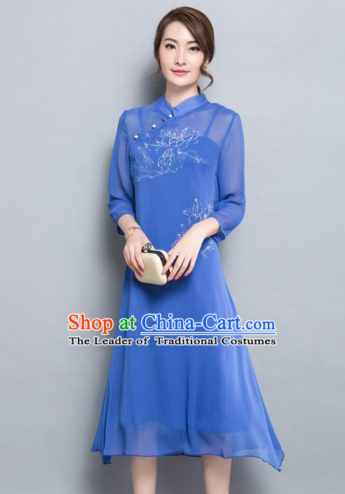 Traditional Ancient Chinese National Costume, Elegant Hanfu Hand Painting Mandarin Qipao Chiffon Two-Piece Dress, China Tang Suit Cheongsam Upper Outer Garment Elegant Blue Dress Clothing for Women