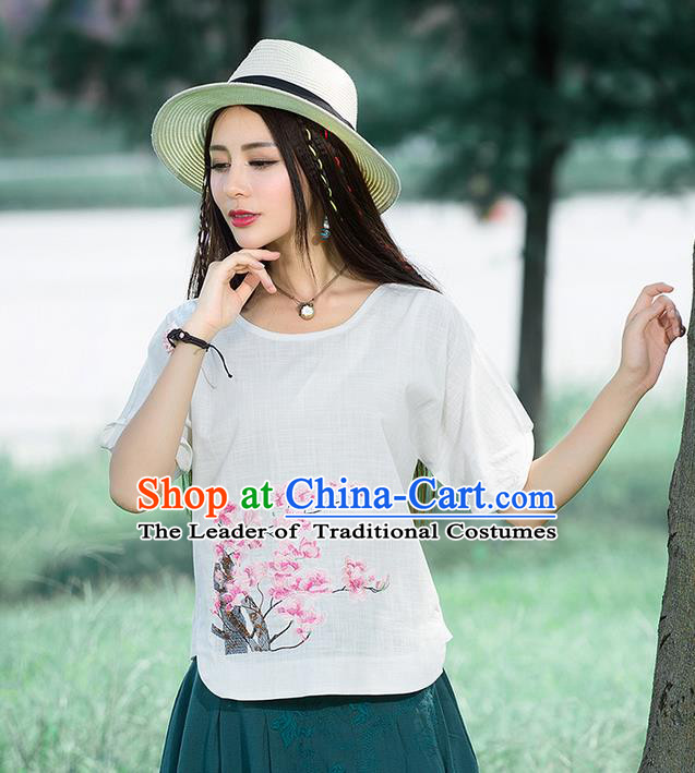 Traditional Ancient Chinese National Costume, Elegant Hanfu Embroidered Peach Blossom Flowers Shirt, China Tang Suit Blouse Cheongsam Qipao Shirts Clothing for Women