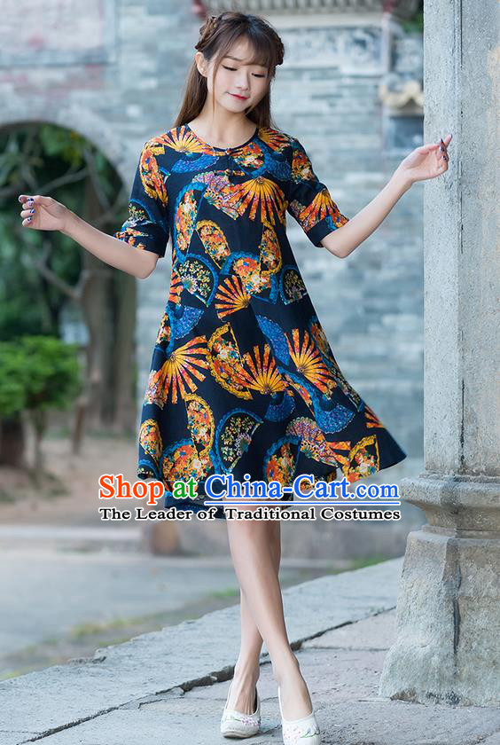 Traditional Chinese National Costume, Elegant Hanfu Printing Color Matching Dress, China Tang Suit Cheongsam Upper Outer Garment Elegant Navy Dress Clothing for Women
