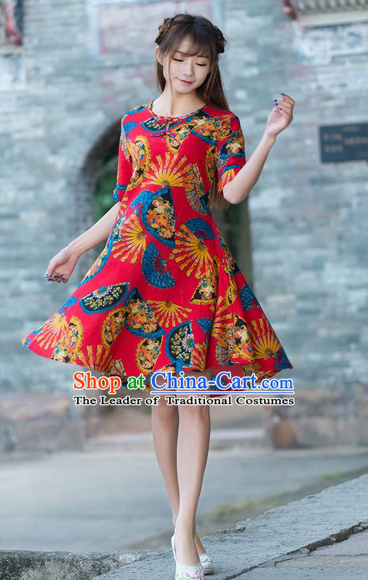 Traditional Chinese National Costume, Elegant Hanfu Printing Color Matching Dress, China Tang Suit Cheongsam Upper Outer Garment Elegant Red Dress Clothing for Women