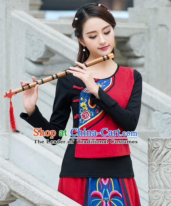 Traditional Ancient Chinese National Costume, Elegant Hanfu Embroidered T-Shirt, China Tang Suit Long Sleeve Blouse Cheongsam Qipao Shirts Clothing for Women