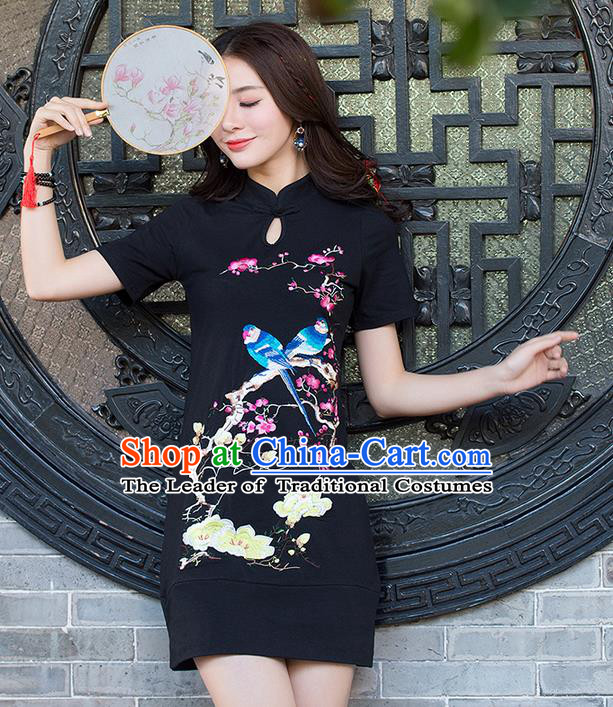 Traditional Ancient Chinese National Costume, Elegant Hanfu Mandarin Sleeve Dress, China Tang Suit Embroidered Cheongsam Upper Outer Garment Elegant Black Dress Clothing for Women