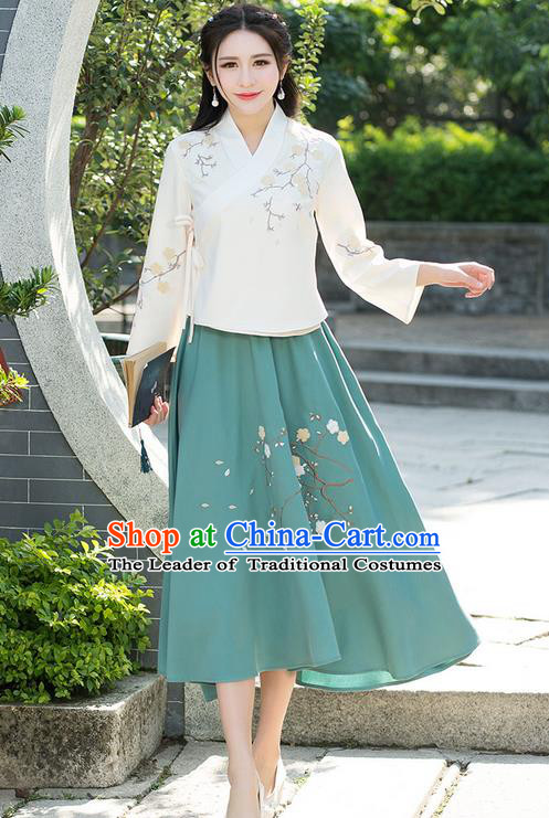 Traditional Ancient Chinese National Costume, Elegant Hanfu Apricot T-Shirt, China Tang Suit Embroidered Blouse Cheongsam Qipao Shirts Clothing for Women