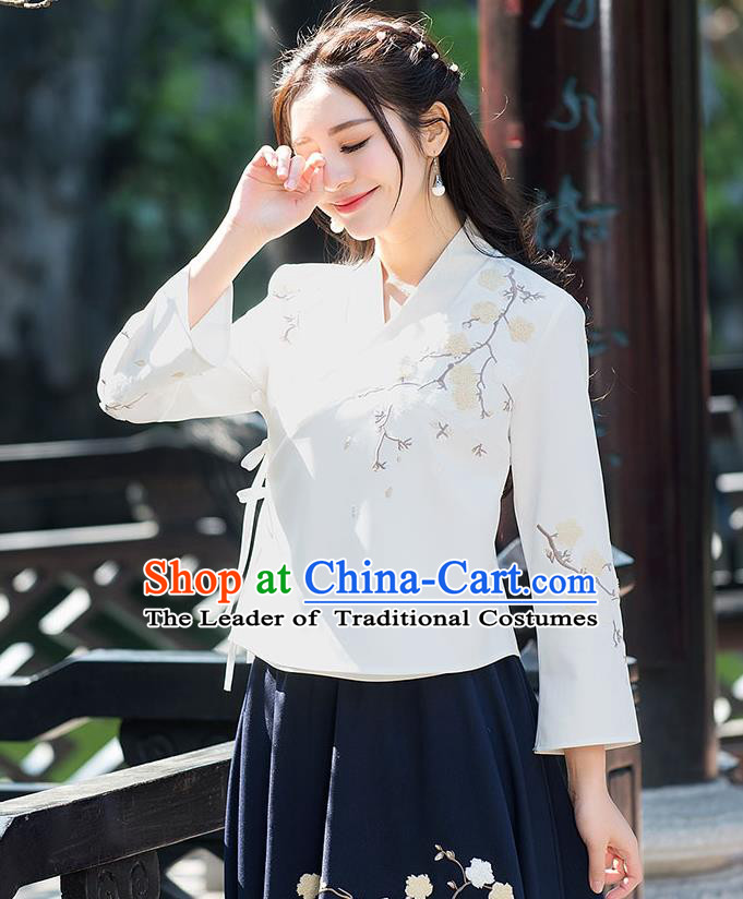 Traditional Ancient Chinese National Costume, Elegant Hanfu Beige T-Shirt, China Tang Suit Embroidered Blouse Cheongsam Qipao Shirts Clothing for Women