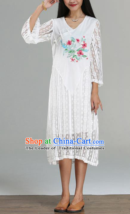 Traditional Ancient Chinese National Costume, Elegant Hanfu Embroidered Lace Dress, China Tang Suit Cheongsam Upper Outer Garment Elegant Dress Clothing for Women