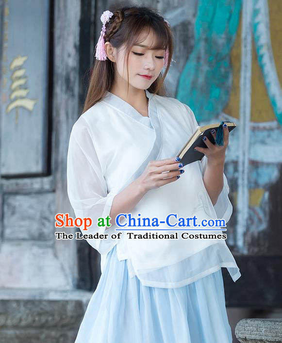 Traditional Ancient Chinese National Costume, Elegant Hanfu Chiffon Shirt, China Tang Suit Slant Opening Blouse Cheongsam Qipao Shirts Clothing for Women